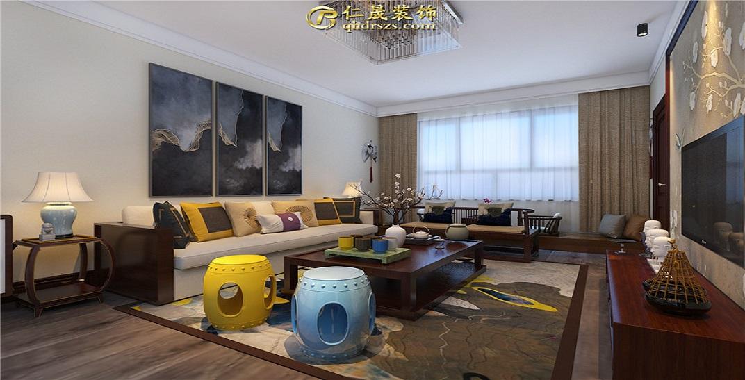 汤河铭筑130平米50万预算新中式设计,辽宁11选5走势图装修公司效果图